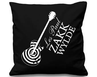 "Gibson Guitar Les Paul ""Zak Wylde"" Design Cushion/Pillow Cover - Black Gibson Guitar"