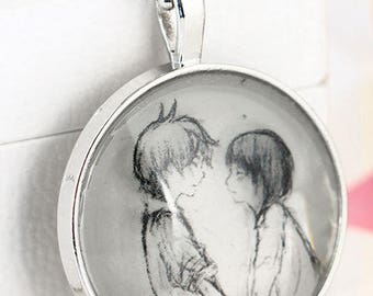 Lovers / glass cabochon necklace