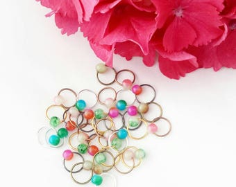 O-my O Ring Stitch Markers// Knitting Markers// Glass Bead Markers