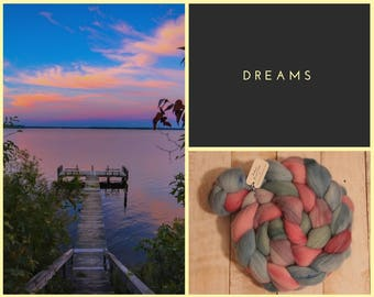 Dreams, 100% Merino Combed Top, hand dyed, spinning fiber