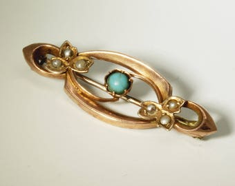 GOLD TURQUOISE BROOCH | 9ct Solid Gold Turquoise Bar Brooch | Turquoise Gold Pin | Vintage Brooch | Antique Gold Brooch | Edwardian | 1912