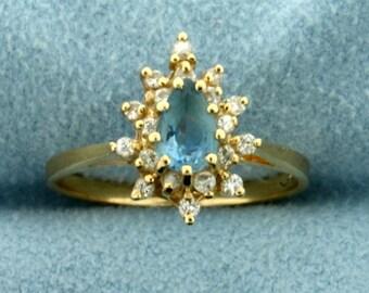 Aquamarine and Diamond Ring in 14K Yellow Gold