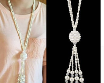 Turkish vintage jewelry Long necklace Pearl jewelry collier beads tassels necklace