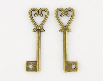 10 pc Antique Bronze Heart Shape Key Charm 25x8mm