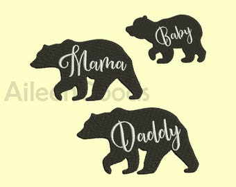 SET Bear Mama Daddy and Baby Embroidery  design 6 Size INSTANT download machine embroidery