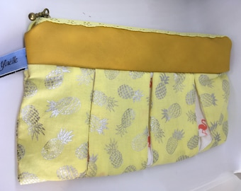 Pineapples and flamingos zip pouch yellow