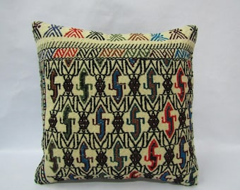 Kilim Pillow Cover,16x16 inches,40x40cm,Anatolian Turkish Kilim Pillow Cover