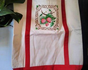 Vintage strawberry canvas tote