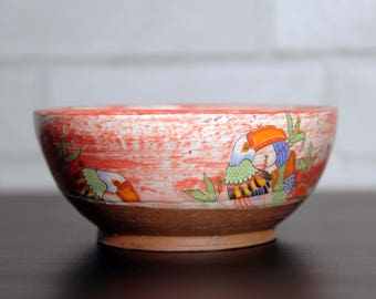 Red Bowl with Tucan decals