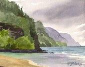 Kee Beach Kauai Art Print - North Shore Kauai beach art, Hawaii beach watercolor painting, Na Pali coast Kauai painting, Hawaii wall art