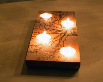 Wood burnt tree multi tealight candle holder