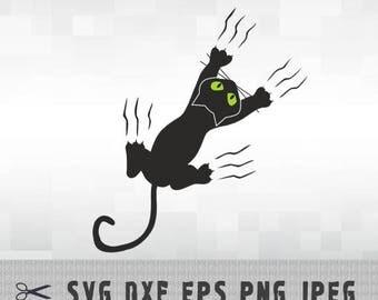 Black Cat SVG PNG DXF Logo Layered Vector Cut File Silhouette Studio Cameo Cricut Design Template Stencil Vinyl Decal Heat Transfer Iron on