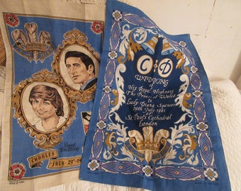 2 linen tea towels, Charles and Diana wedding souvenirs, Irish linen, like new, collectible,blue/white, Prince Charles, Lady Diana Spencer,