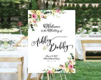 Bohemian Wedding Sign, Wedding Welcome Sign, Printable Wedding Sign, Welcome Wedding Sign, Floral Wedding Sign, wedding sign - US_WS1203