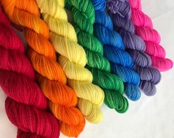 7 x 50g 100% Superwash Merino DK double knit yarn, hand dyed in Scotland, rainbow pack set