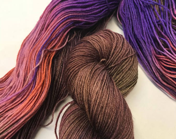 100g Superwash Merino / Nylon Sock Yarn 4 ply, fingering, hand dyed, brown, purple, green, orange, variegated, autumnal, deep dark wood
