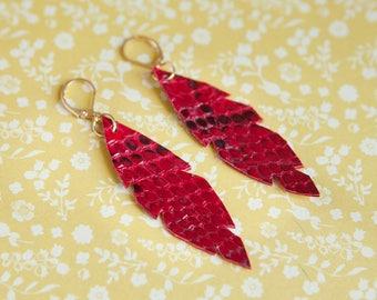 Red Snake earrings, Long drop earrings, Genuine leather earrings, bohemian leather earrings, feather drop earrings, leather earrings