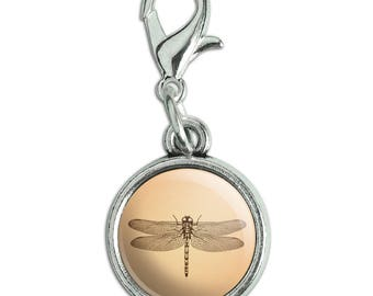Dragonfly Vintage Insect Antiqued Bracelet Pendant Zipper Pull Charm with Lobster Clasp