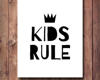 60% OFF Kids Rule Poster, Kids Room Decor, Kids Rule Print, Printable Art, Kids Gift, Baby Room Decor, Baby Room Wall Art, Scandinavian Art