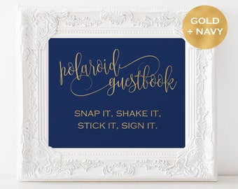 Polaroid Guest Book Sign Instant Download - Wedding guest book - Navy and Gold Wedding - Downloadable wedding #WDH878PL81