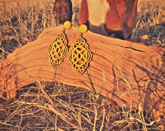 Mustard Yellow ! Perfect for spring ! Lightweight wooden earrings !