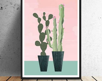 Poster, Cactus, urban jungle, residential trend, interior, plant, green, wall decoration, decoration