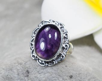 Natural Amethyst 925 Sterling Silver Ring, Genuine Ring, Birthday and holiday Gift, US Size 5 1/4 ,J404