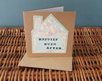 Handmade Sewn New Home Card