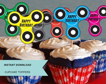 fidget spinner, fidget spinner battle, fidget spinner party, fidget spinner cupcake , fidget cupcake toppers, fidget spinner toy, birthday,