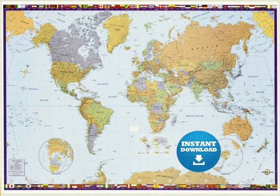 Digital Modern World Map Hight Printable Download Large - Large world map print out
