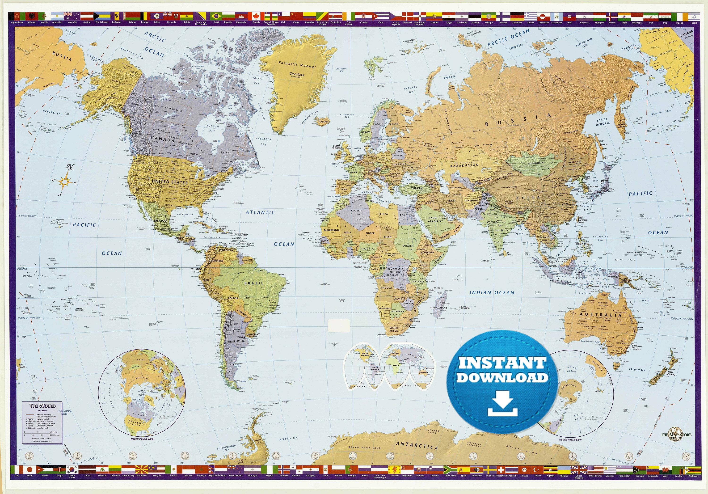 Digital Modern World Map Hight Printable Download Large - Full map of us