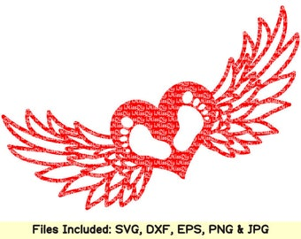 Baby Feet svg files for Cricut Silhouette, Baby Angel wings footprints svg, heart love charm birthday shower invitation cards dxf cut files