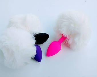 Small White Bunny Tail Silicone choice pink purple or black Butt Plug\Mature