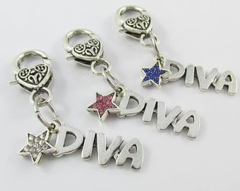 Diva Star Clip on Charm for Bag Keychain or Zipper Pull Pick Clear Blue or Pink