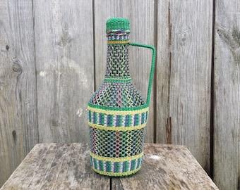 Wrapped bottle, Vintage decorative wine bottle, Rustic alcohol bottle, Kitchen decor, Vinegar glass bottle, Handmade knitted decanter.
