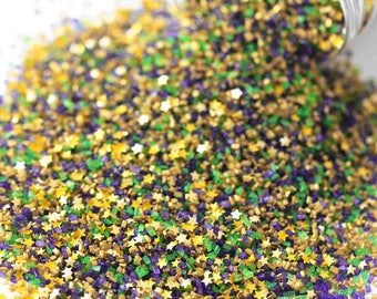 Bourbon Street Fancy Glitter Sugar Crystals, Mardi Gras Sugar, Purple Yellow Gold Sugar, Edible Glitter, Gold Edible Stars