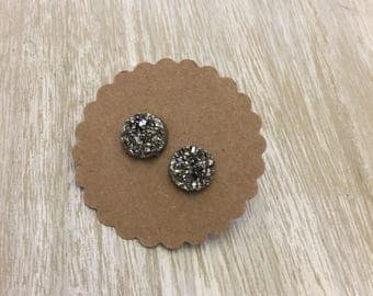 Charcoal Stud Earrings with Titanium Backing