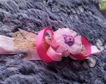 Royal heart crown princess in pink and gold