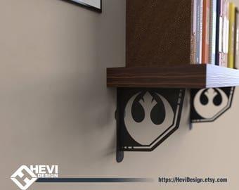2x Rebel Alliance, StarWars emblem\symbol shelf bracket (2 brackets for complete shelf mounting, without shelf)