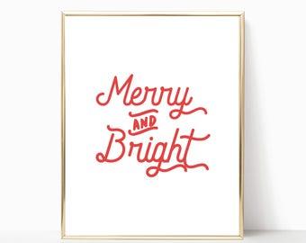 Merry and bright printable, Christmas print, christmas printable, wall art, wall decor, christmas wall art, printable art, christmas decor