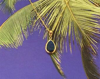 Opal Pendant, 14KT Yellow Gold Blue Opal Inlay Pendant, P5236