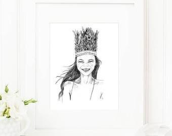 Kate • Art Print   Fashion Illustration