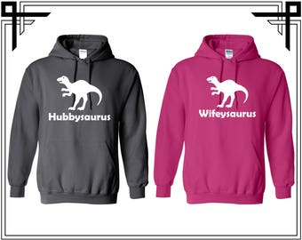 Hubbysauraus Wifeysauraus Couple Love Hoodie Couple Hoodies Hooded Sweatshirt Party Top Valentines Day & Anniversary Gift For Couples