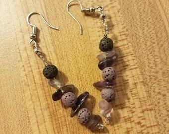 Lavender Lava and Amethyst Earrings