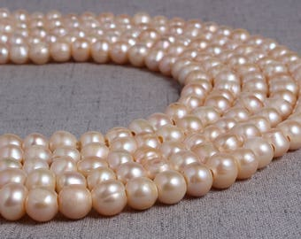 9 - 10 mm pink round freshwater pearls,3mm large hole,pink round pearl,full strand,round pearl strands,pearl wholesale