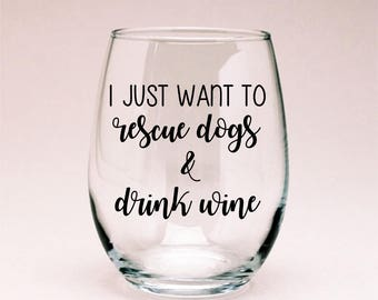 Rescue Dogs Wine Glass