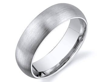 14k White Gold Band (6mm) / PLAIN / Matte Brushed Rounded Dome + Comfort Fit / Men's Women's Wedding Ring