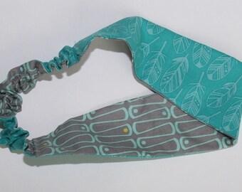 Women's reversible headband. Gray/teal
