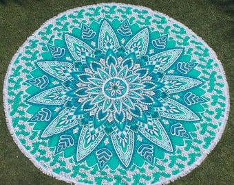 Flower Power Tapestry - 6 feet round - Teal Green - perfect as a Wall Hanging, Beach Towel and Blanket, for Home Decor or Music Festivals