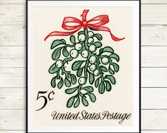 Art prints: Mistletoe, mistletoe branch, under the mistletoe, Christmas wall art, US postal art, US postage, USA stamps, United States